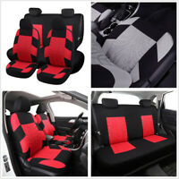 Classic Washable Embroidery Standard 5-Seats Car Seat Covers Cushion Black+Red