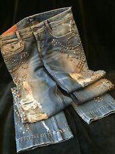 Vintage Collectible Dolce & Gabbana  Runway Blue Mens Pants Jeans w/ Studs