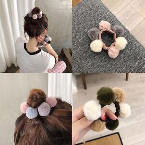 Winter Faux Fur Pompom Woman Hair Ties Girls Elastic Hair Band Rubber Scrunchies