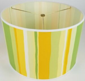 """NEW Drum Lamp Shade 15"""" Dia 10"""" H Contemporary Stripes Green Yellow Fabric"""