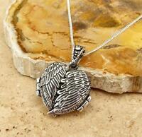 925 STERLING SILVER ANGEL WINGS HEART LOCKET PENDANT NECKLACE JEWELLERY