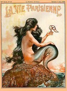 1925 La Vie Parisienne Mermaid French Nouveau France Travel Advertisement Poster