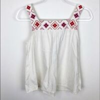 WOMEN'S MADEWELL WHITE SQUARE NECKLINE EMBROIDERED SLEEVELESS BOHO TANK SZ SMALL