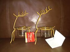 Happy Holidays Reindeer Tealight Candle Holder Set of Two Golden