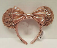 New Disney Parks Rose Gold Minnie Mouse Ears Headband Walt Disney World Land Bow