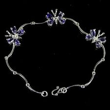 Sterling Silver Stunning Genuine Natural Iolite Butterfly Bracelet 7 Inches