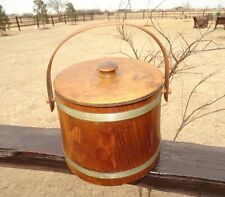 173408/ Vintage WOODEN FIRKIN SUGAR BUCKET ~ FOLK ART ~ w lid / ~ PRIMITIVE