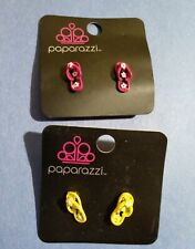 2 Pairs of PAPARAZZI Enameled SANDAL Earrings