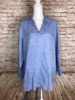 JNY Women's 1X Blue 100% Linen Tunic Shirt Blouse Jones New York Long Sleeve EUC