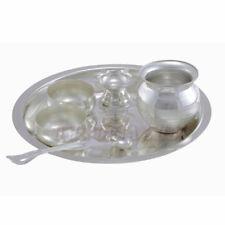 Hindu Temple German Silver Puja Thali for Rituals Set,Plate OM pooja Shop