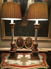 Pair Tall Antique Vintage Hand Painted Florentine Venetian Italian Table Lamps