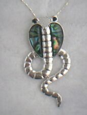 Necklace/Pendant Cobra Abalone Shell new w/ chain & box snake