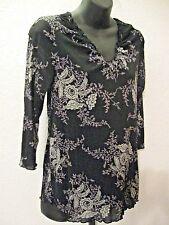 Old Navy Maternity Top Sz. Medium Black Gray Print Knit 3/4 Long Sleeves #796