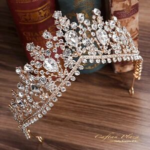 Tiara XL Diadem Krone Strass Kristall Brautschmuck Hochzeit Gold elegant NEU