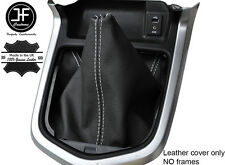 Blanco Cuero Cosido Manual Gear gaiter se ajusta Navara NP300 D23 2015-2017