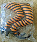 Wicked Witch Legs Halloween Decor Orange/Black Striped Shoes 2-pc Set Plush NIP