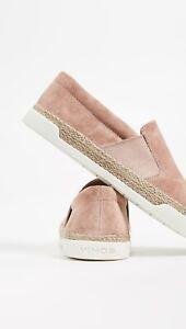 Vince Johan Slip Ons Blush Suede Sneakers Cowhide Braided Rope Sidewalls Size 10