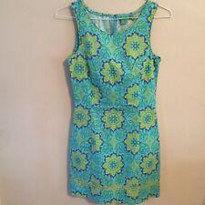 Tibi Sheath Dress Sleeveless Tropical Print Blues Greens Spandex Size 6
