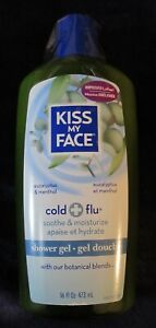 Kiss My Face 16 oz Cold & Flu bath Shower Gel Eucalyptus Menthol botanical blend
