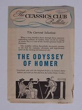 The Classics Club Bulletin - The Odyssey Of Homer