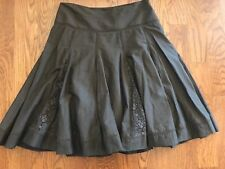 Apt 9 Woman size 8 Skirt Fit and Flare Lace Trim Brown Floral Cotton Womens