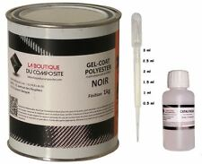 GEL COAT POLYESTER MARINE ISO. NOIR 1kg. + catalyseur & pipette de dosage.