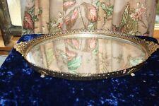 "Vtg Mirrored Vanity Dresser Perfume Tray Gold Filigree Matson shells 15 x 10"""
