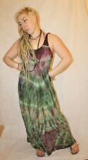 Tie dye dress Maxi Sacred Geometry geometric designer boho green acid wash
