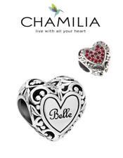 BNIB CHAMILIA 925 silver Disney BELLE'S HEART charm bead Beauty & Beast