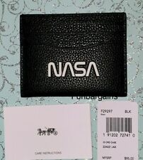 NWT $95 Coach 29297 NASA Collection Men Slim ID Card Case Mini Wallet Black