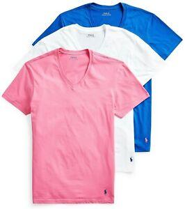 Polo Ralph Lauren V-Neck T-Shirt Three Classic Fit 3 Pack Cotton Tee Shirt 42.50
