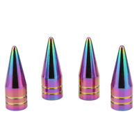 4* Neo Chrome Spiked Valve Stem Cap Aluminum Tire Air Car Truck Bike SUV Wheel
