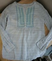 Vineyard Vines White Blue Stripe Embroidered Pullover Linen Top Size 6