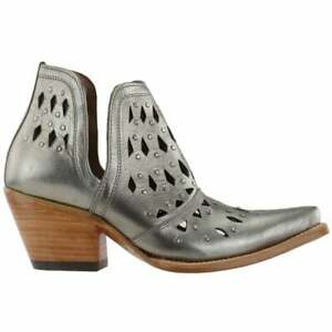 """Ariat Dixon Studded Snip Toe   Womens  Boots   Ankle Mid Heel 2-3"""" - Silver -"""