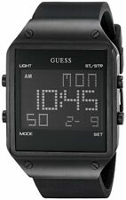 BRAND NEW AUTHENTIC GUESS MEN'S DIGITAL BLACK SILICONE STRAP WATCH U0595G1