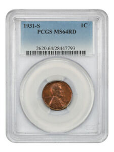 1931-S 1c PCGS MS64 RD - Popular Key Date - Lincoln Cent - Popular Key Date