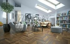 French Chevron Engineered Ash parquet chaud marron huilé Premier AB adapté pour ...