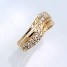 Fashion Gold Band Ring White Crystal Zircon 18K Yellow Gold Plated Ring Size 7