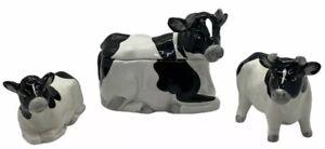 Otagiri Japan Hand Crafted Black White Cow Sugar Bowl Salt & Pepper Shaker Set
