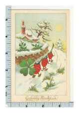 Ladybugs with Lucky Clover - Vintage Postcard - New Year