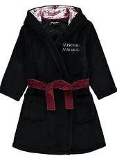 Kids Harry Potter Marauders Map Fleece Dressing Gown Robe Black 7 8 9 10 11 12
