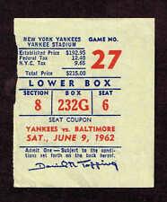 1962  Baltimore Orioles vs New York Yankees TICKET STUB