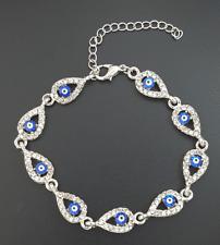 Strass Nazar Blue Evil Eye Silber Armband Armkette Magisches Auge Böser Blick ..