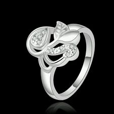 SALE 925 Silver Plated Leaf Nature Swirl Crystal CZ Eternity Ring. Size Q/8. 640