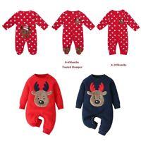 Baby Girls Boys Romper Christmas Jumpsuit Deer Head Infant Playsuit Xmas Clothes