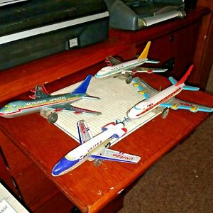 4 Rare Vintage Airlines Jumbo Jet Tin Friction Toy Boeing 747