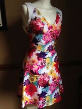 Oasis Floral Fit & Flare Dress 8 Pastel Multi Colour Party Wedding Races