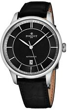 Perrelet Men's First Class Black Dial Leather Strap Automatic Watch A1073/5