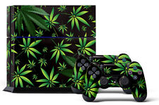 Skin Sticker for PS4 System Playstation 4 Console +2 Controller Decals WEEDS BLK