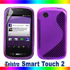 S Curve Purple Gel Jelly Cover Case Telstra SMART TOUCH 2 ZTE T760 + Screen Film